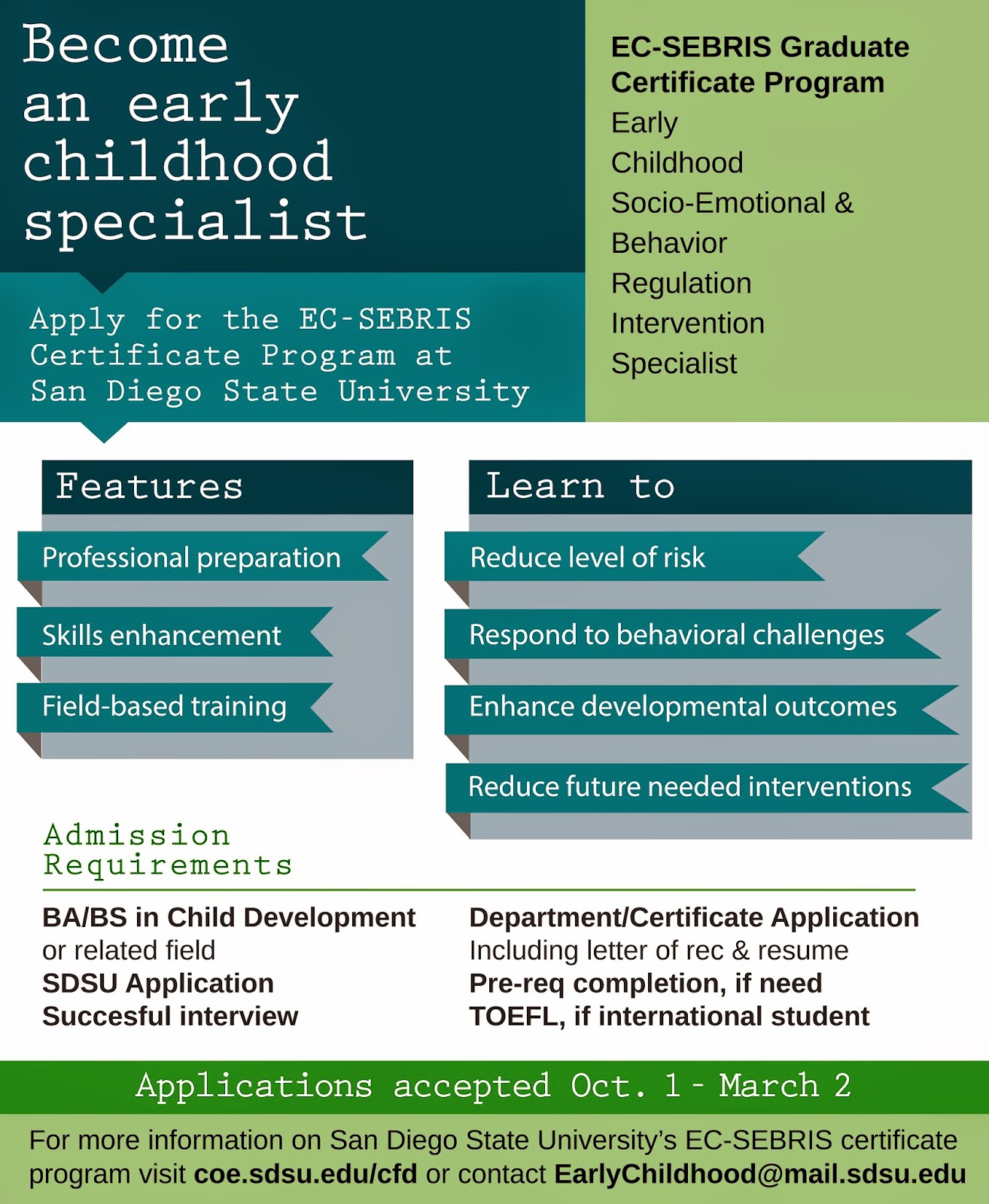 Early childhood at sdsu graduate school infographics on early for more information on our graduate and certificate programs visit coesucfd connect with us on twitter facebook and instagram for program and xflitez Gallery