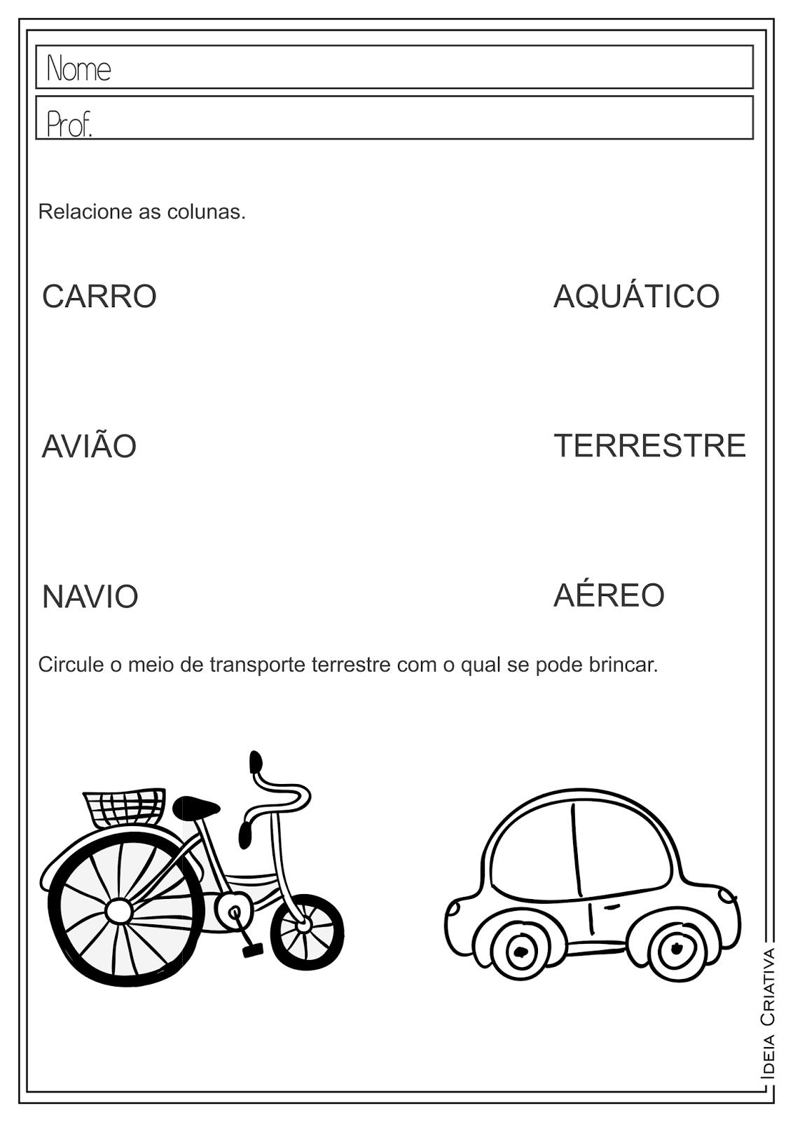 Atividades Educativas Meios de Transportes (Terrestres, Aquáticos e Aéreos) para Ensino Fundamental