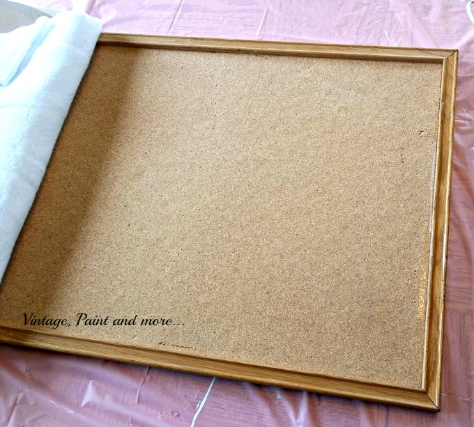 Vintage, Paint and more... decorating an old bulletin board, drop cloth fabrics, diy