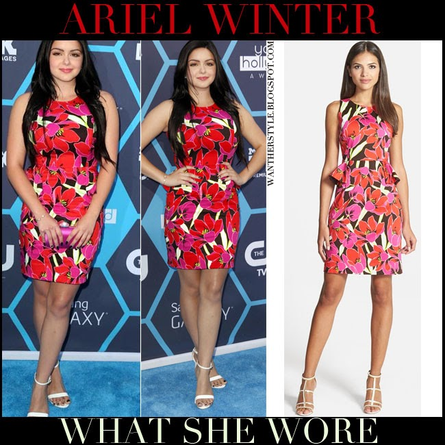Ariel Winter in red floral print peplum sleeveless Kate Spade dress july 2014 want her style