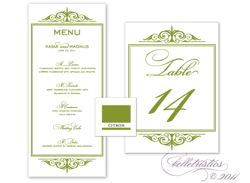 citron green printable flourish wedding table number menu card