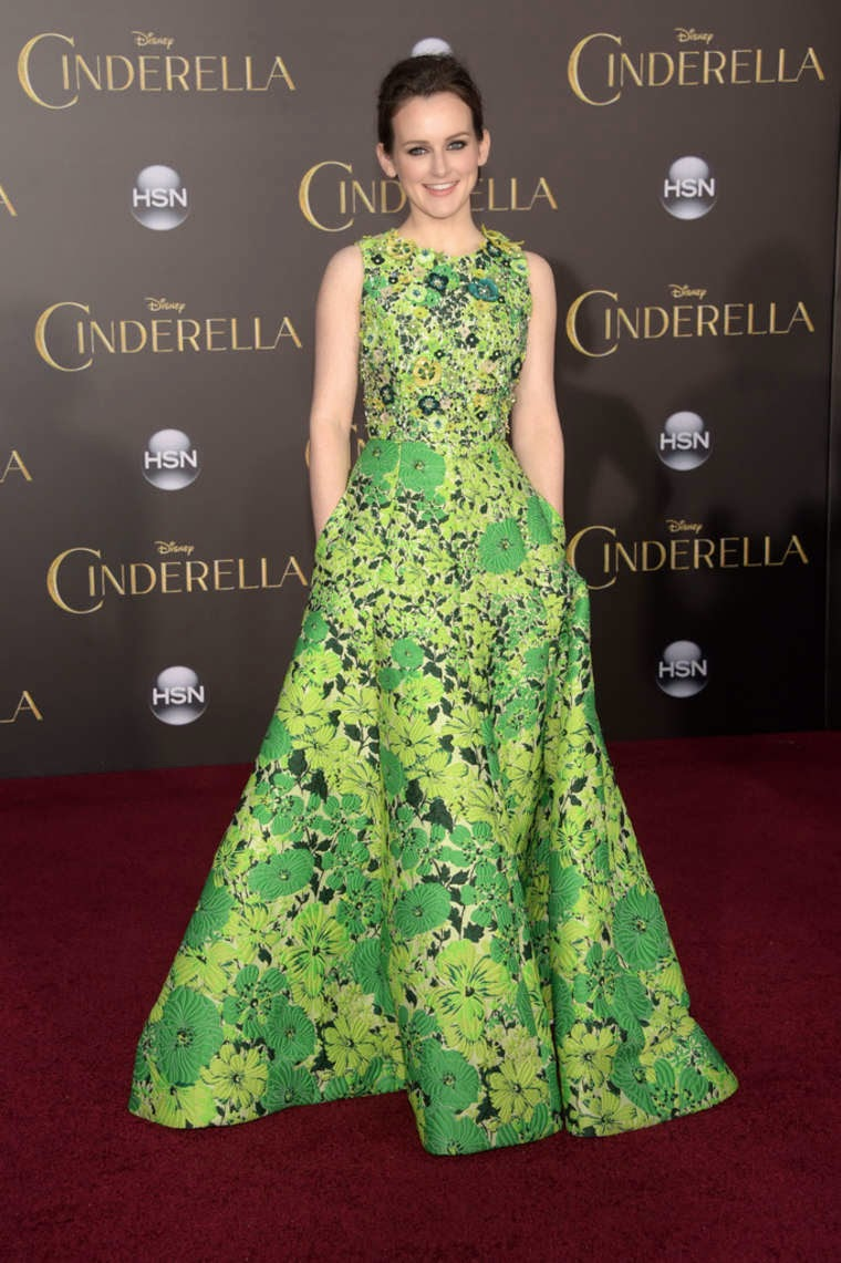 Sophie McShera in a floral green gown at the 'Cinderella' premiere in Hollywood