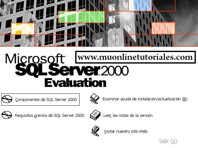 Instalando componentes de sql server 2000