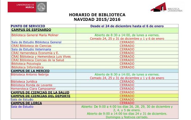 Horario de Navidad 2015.