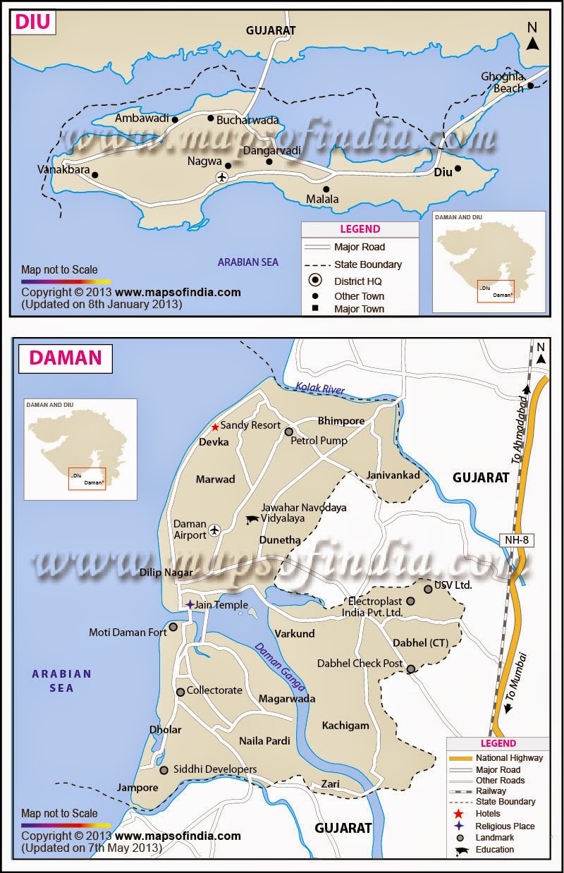 Travel Map Of Daman & Diu