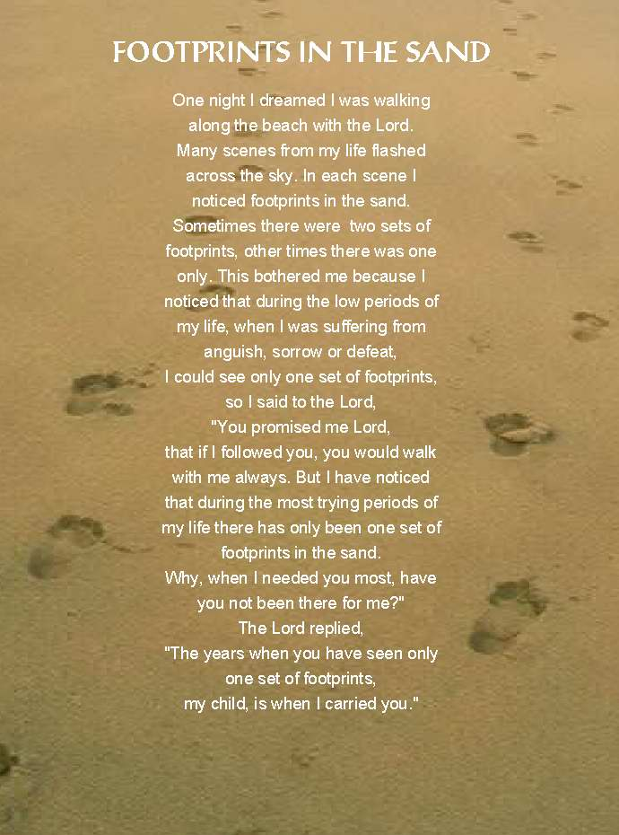 Lively image inside footprints in the sand poem printable