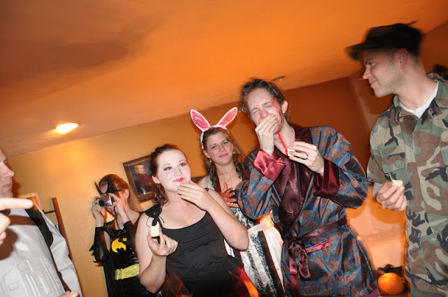 dead Hugh Hefner/playboy bunny, husband and wife halloween costume