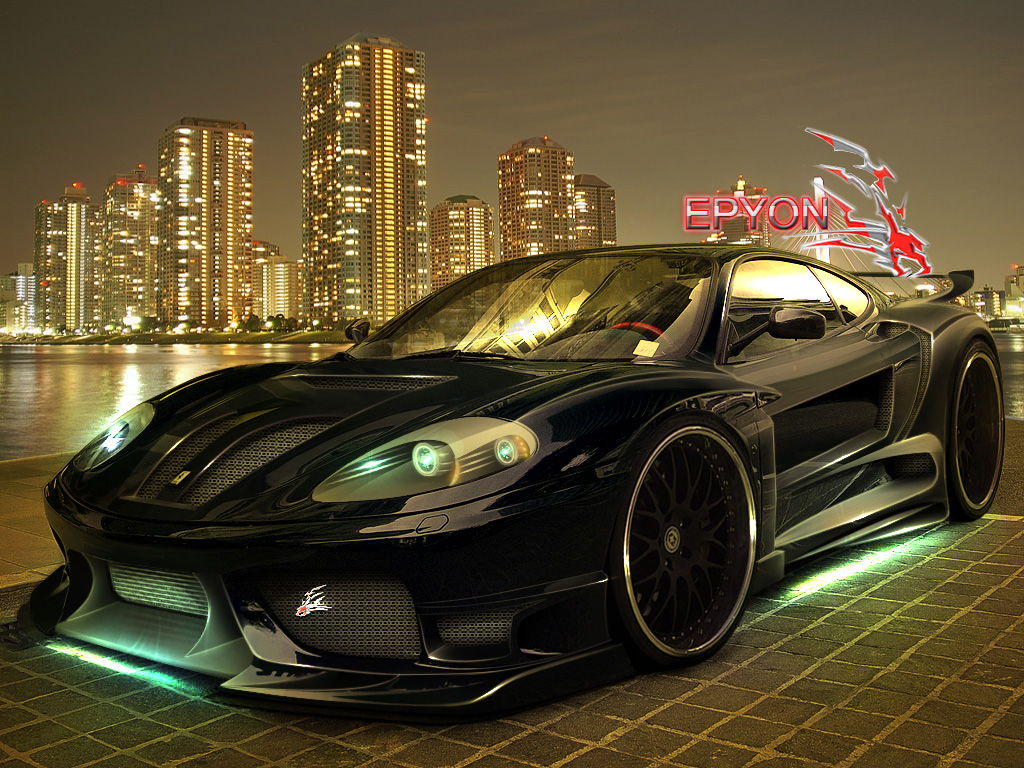 Perfect Black Ferrari Sports Car