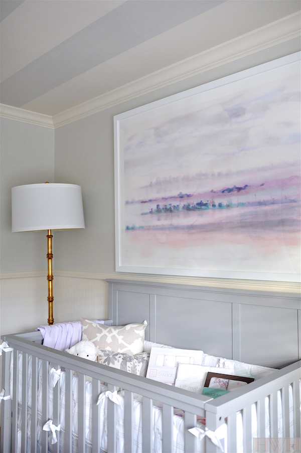 Baby girl nursery with light grey and lavender