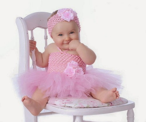 Baby Girl in Rose Dress Very Beautiful