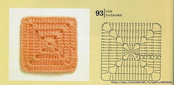 Вязание для начинающих крючком квадратов для 93