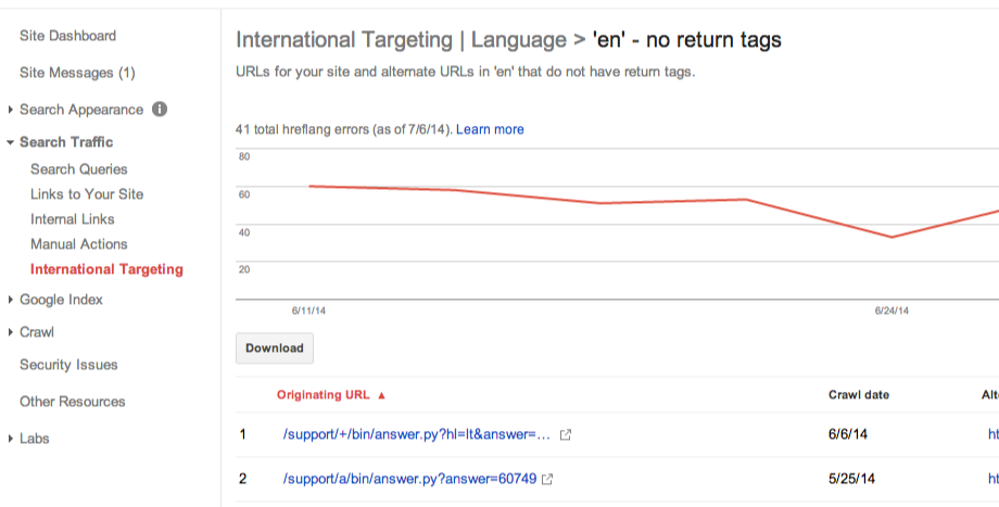 Google Webmaster Tools Adds International Targeting Report For Geographic Targeting and hreflang Errors