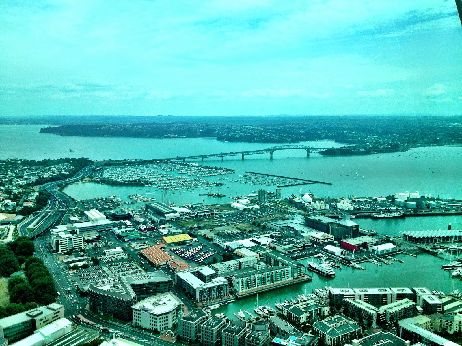 Looking North from the observation deck of the Sky Tower, Auckland