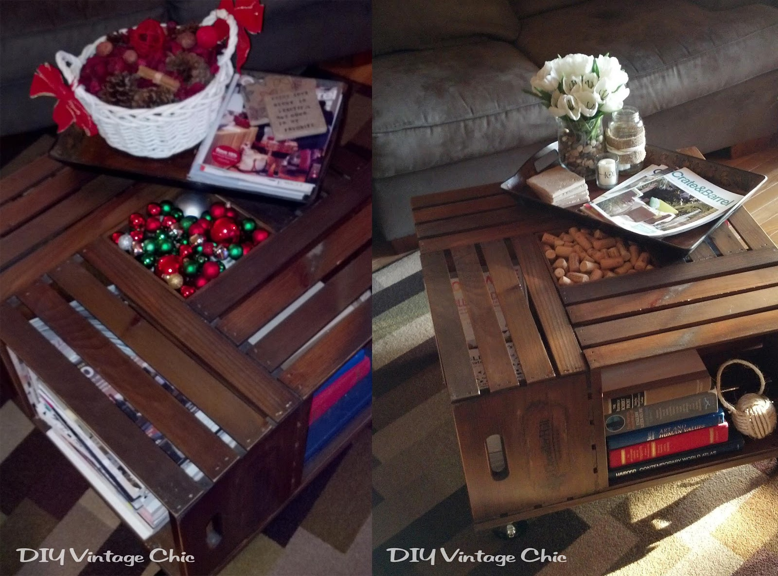diy vintage chic christmas coffee table