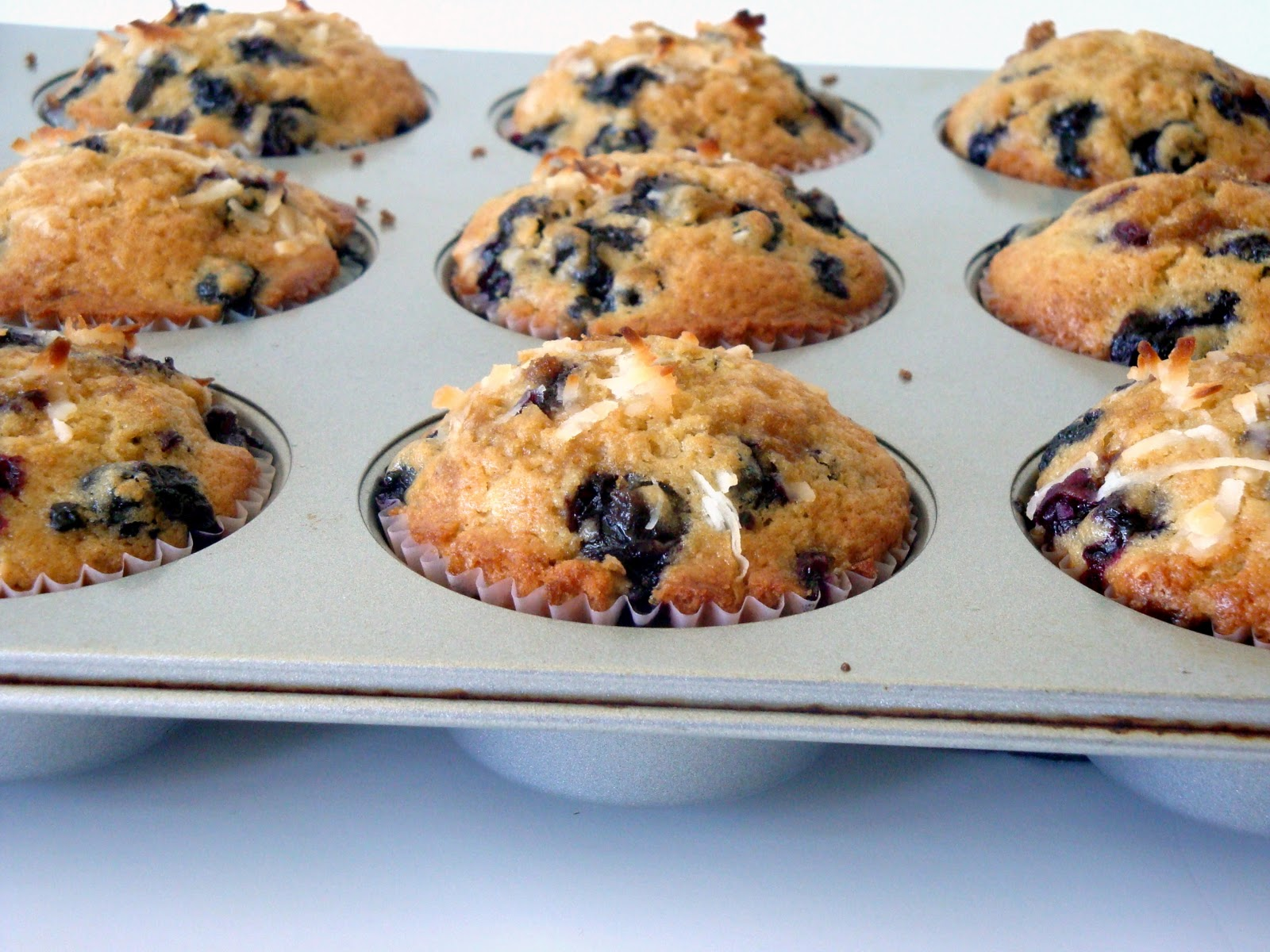 Brown Sugar Coconut Blueberry Muffins - Alida's Kitchen