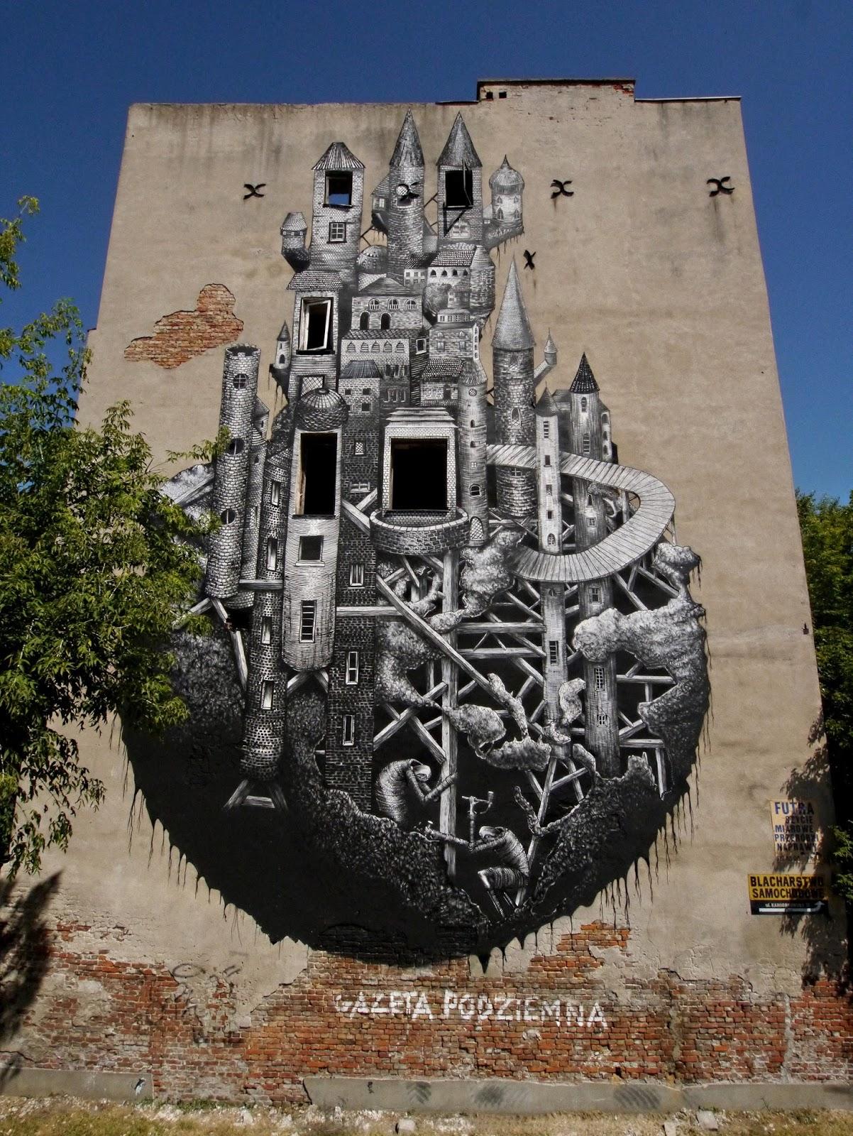 Phlegm New Mural In Warsaw Poland Streetartnews