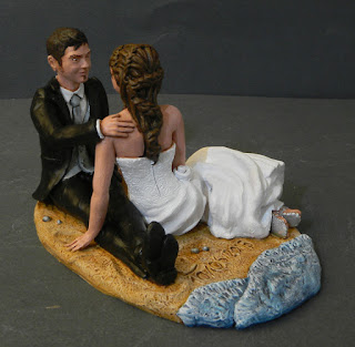 Cake topper romantico regalo matrimonio sposini mare statuette orme magiche
