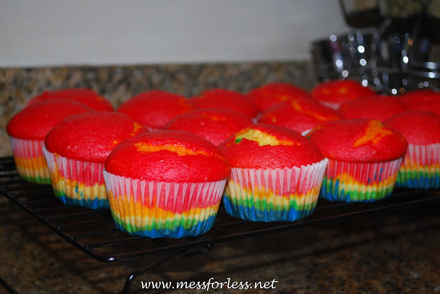 rainbow cupcakes cooling