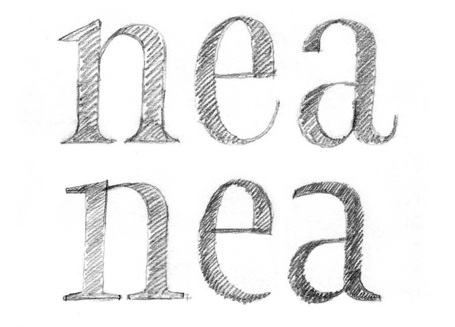 turning pages  font design sketches