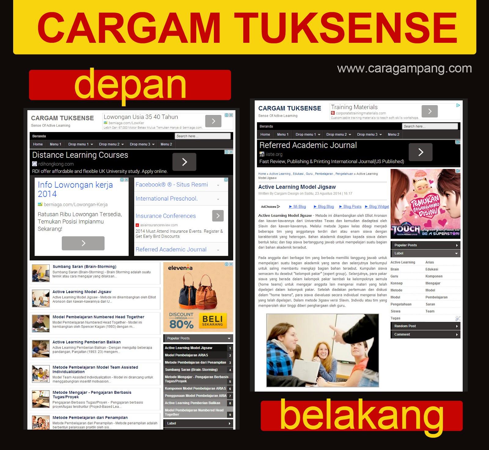 Template Untuk Main Google Adsense - Cargam Tuksense