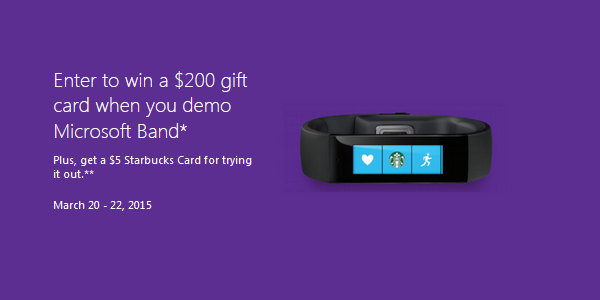Win a $200 Microsoft gift card by trying on the Microsoft Band