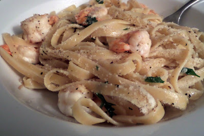 Shrimp Scampi:  Shrimp and pasta tossed in a garlic, butter, and white wine sauce.