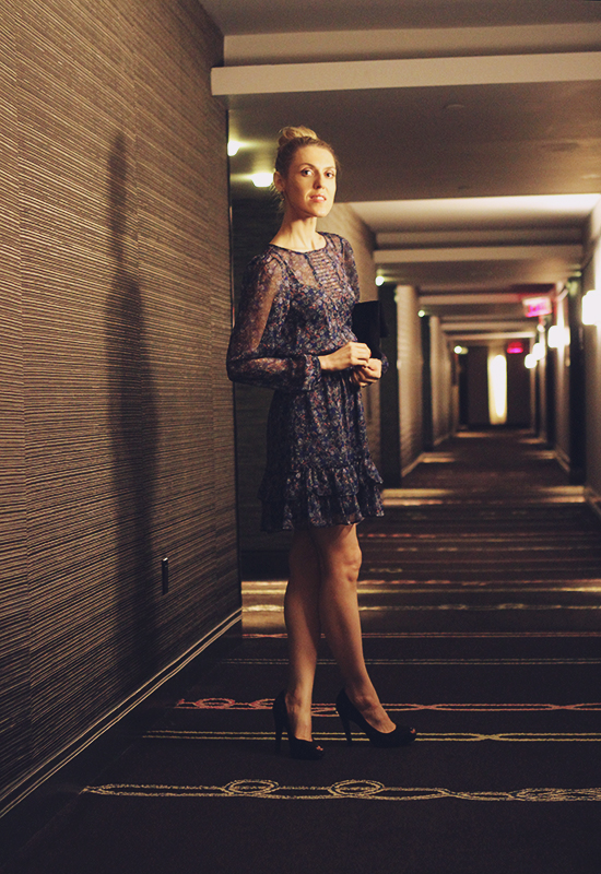 """A Night In Atlantic City"" Outfit Post on ""The Wind of Inspiration"" Blog #twoistyle #outfit #look #style #fashion #personalstyle #fashionblog #fashionblogger (Warehouse Dress, Nine West Pumps, Eileen Fisher Clutch, CoverGirl Nail Polish)"