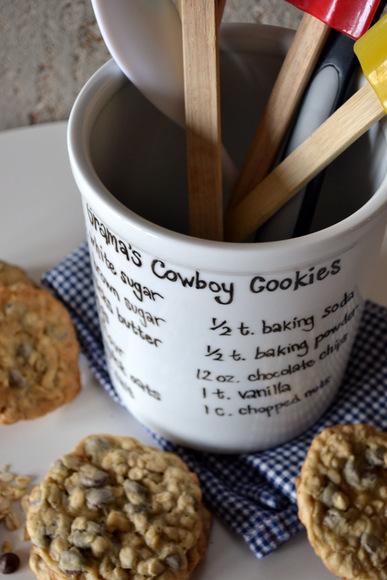 Grandma's cookies recipe forever noted on a custom utensil holder