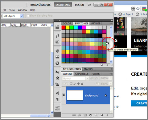 Save color swatch in Photoshop