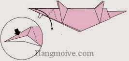 Bước 11: Mở lớp giấy ra, kéo và gấp sang phải.