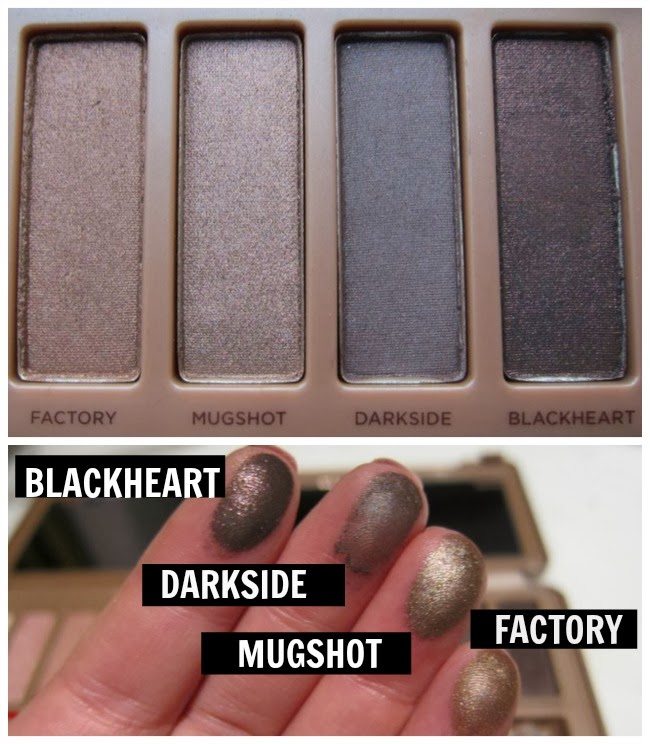 Naked 3 Urban Decay Swatches Blackheart, Darkside, Mugshot, Factory