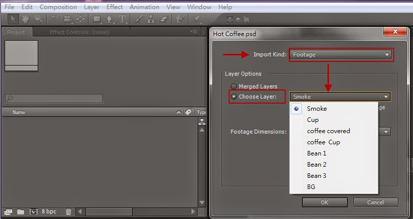 Importing PSD、AI、Sequence and aep Files in AE 11