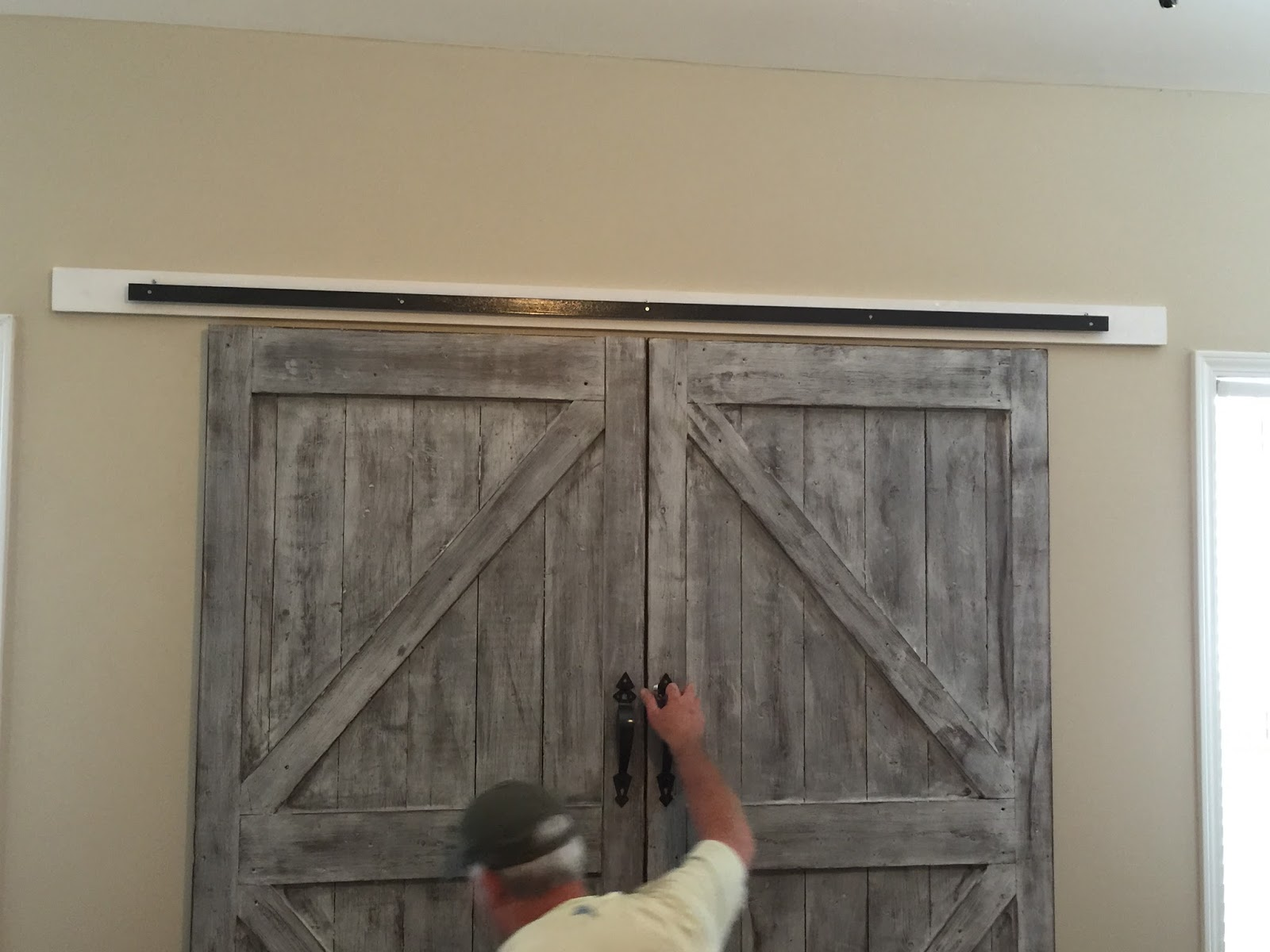 The photo above shows how we screwed the white board to the wall using 3 or. Barn Doors At Lowes