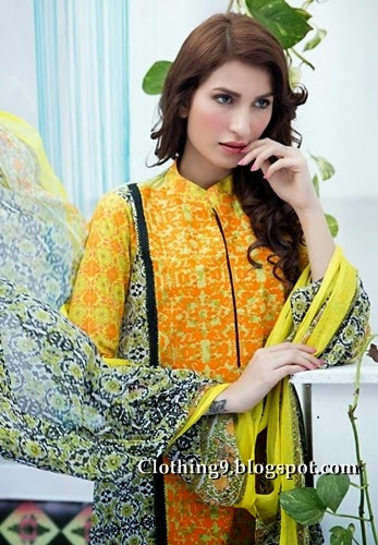Amna'a lawn collection 2015