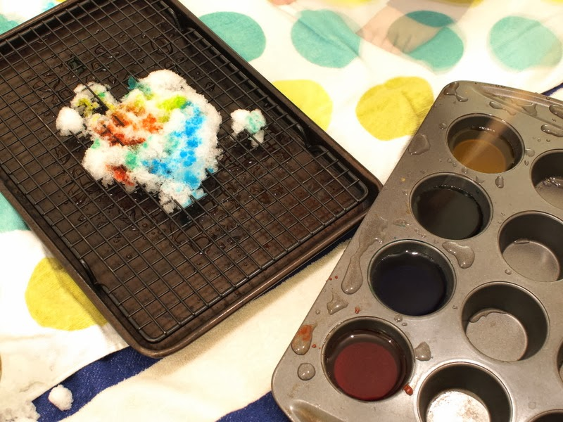 Indoor snow painting activity setup