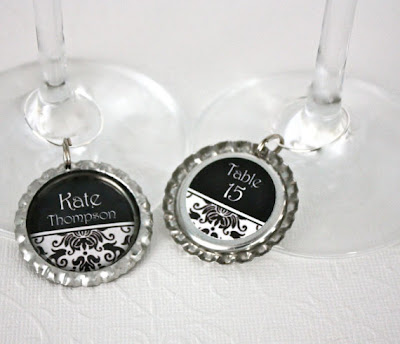 Unxia Escort Cards Wedding Favors Wine Charms Bridal Shower Place Cards Black Damask Drink Markers