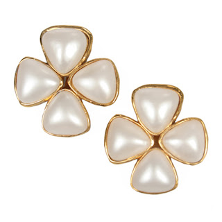 Vintage 1980's pearl and gold clover shaped Chanel earrings.