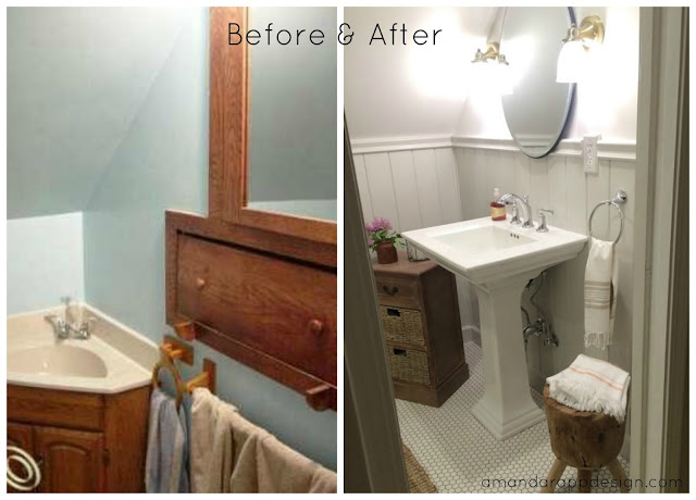 Before & After, Cottage Rustic Classic Bathroom  amandarappdesign.com