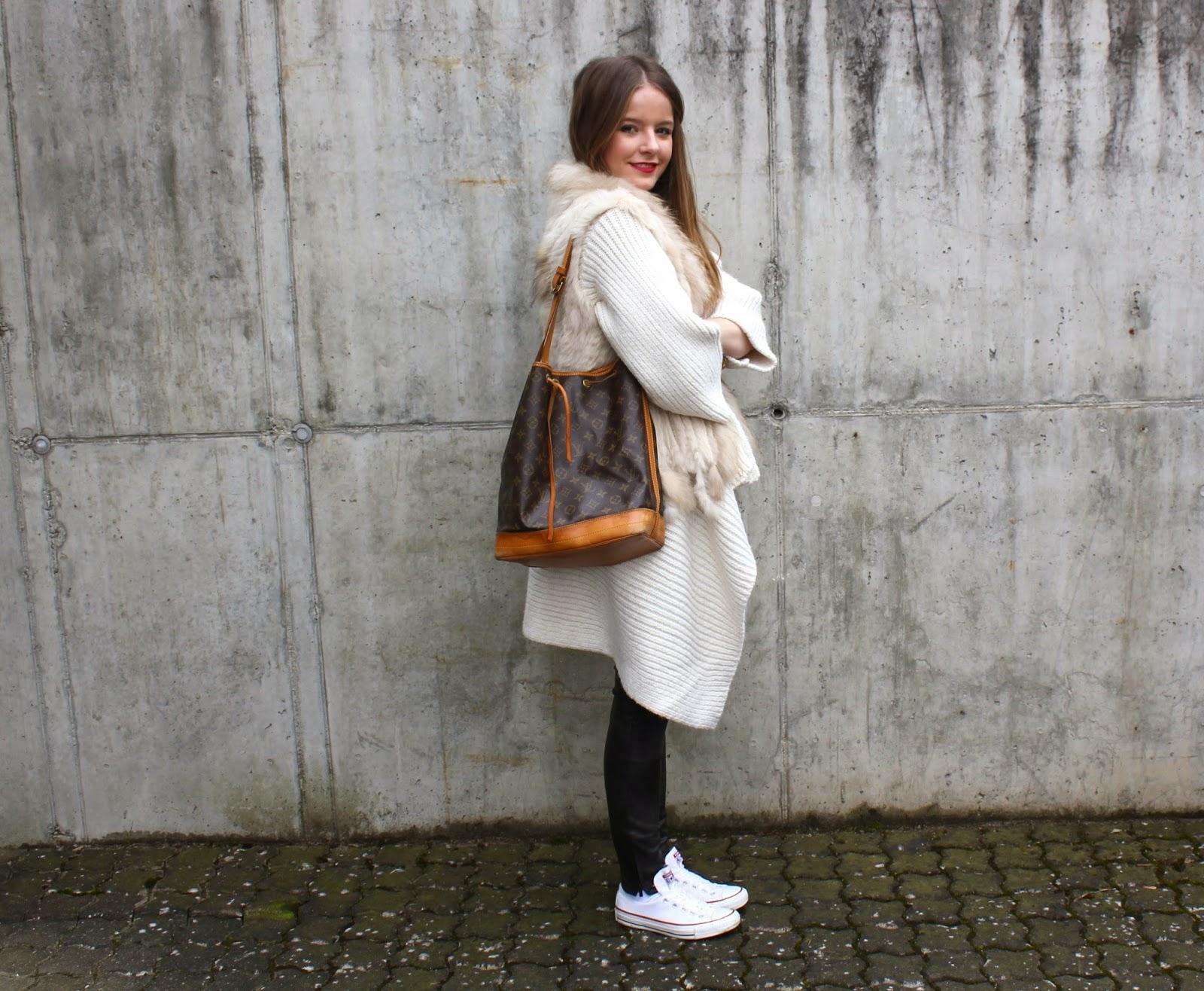 cardigan, leather pants - Zara; fur vest - Mondelli; shoes - Converse;  shirt - H&M; watch - Michael Kors; bag - Louis Vuitton