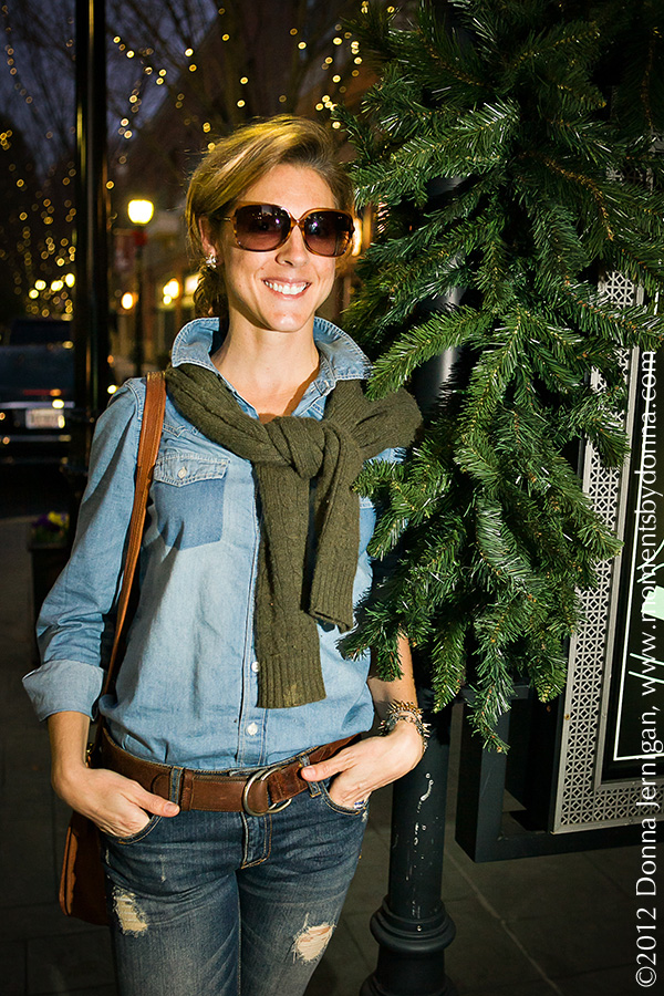 Denim on Denim, the Queen City Style, Forever 21 Chambray Shirt, Zara Ripped Jeans, Vintage Coach Cross Body Bag, Blinde Sunglasses, Jewelmint Bee Earrings, Ralph Lauren Cable Cashmere Sweater from summerbird, Charlie 1 Horse Boots from Constance Consignment, Diamonds Direct, Tiffany Interlocking Circles Ring, Donna Jernigan Photography, Moments By Donna, TrySports