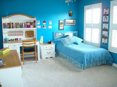 dormitorio turquesa y blanco