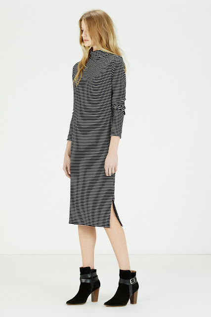 warehouse striped dress, turtle neck stripe dress,