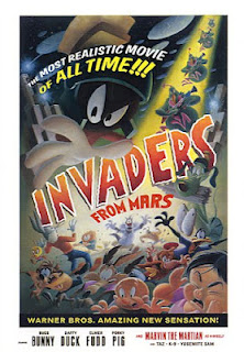 Invaders From Mars lithograph poster featuring Marvin the Martian, signed by artist Juan Ortiz