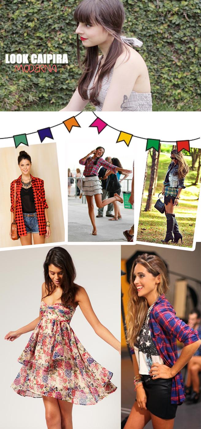 look festa junina arraial caipira xadrez moderna quadriculado florido jeans