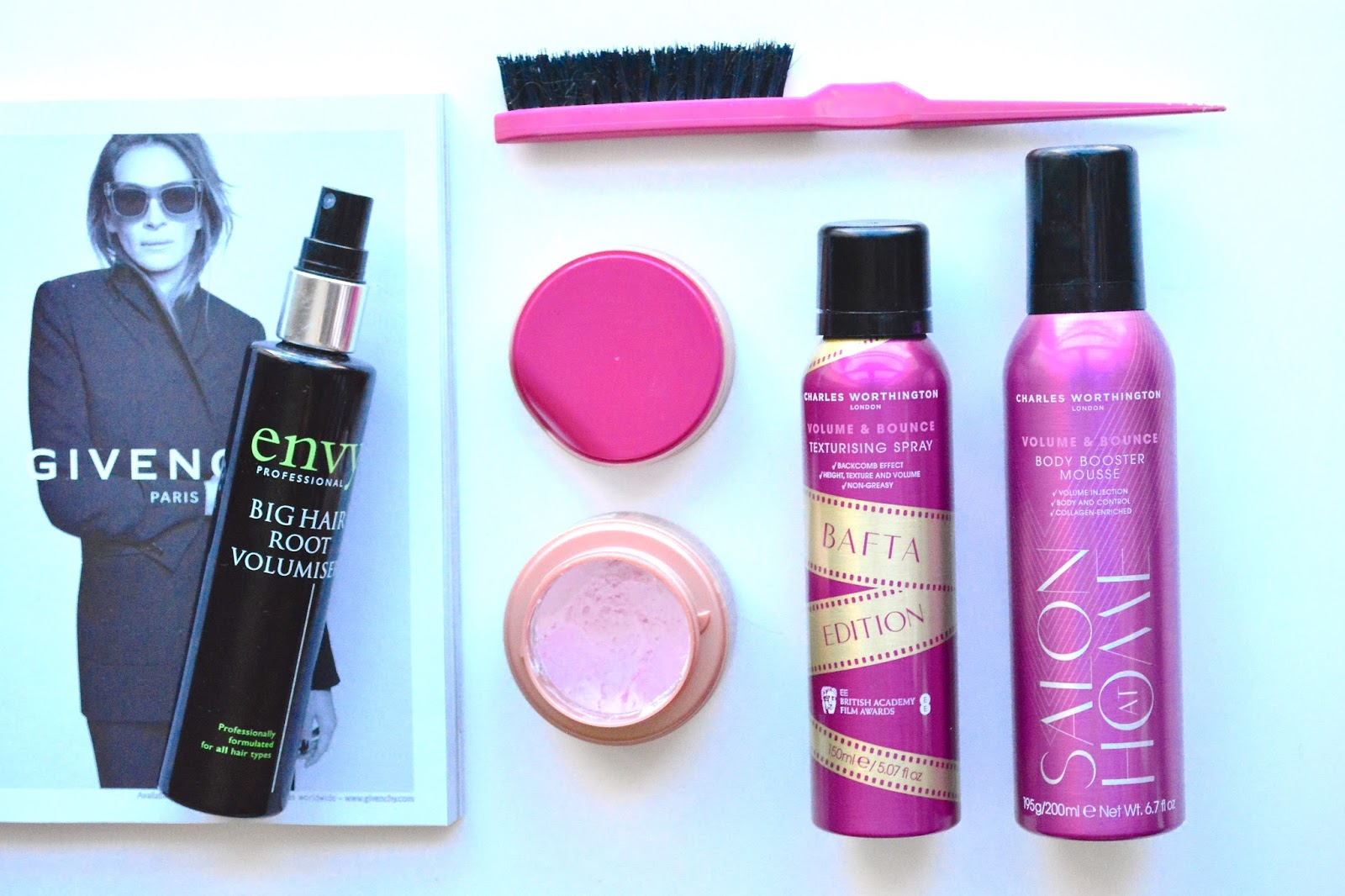 Top Five Hair Products That Give Volume & Texture! Got2b Volume and Shine Souffle, Charles Worthington Mousse, Charles Worthington Texturising Spray, Envy Professional Big Hair Root Volumiser
