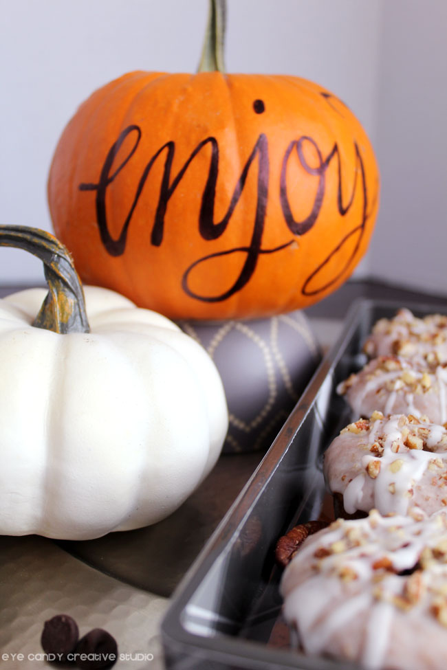 hand lettered pumpkin, thanksgiving decor, donuts for breakfast