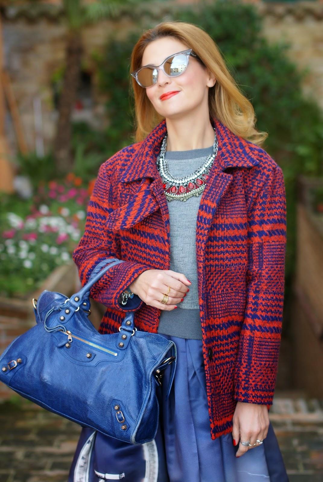 Chicwish London Skyline print, London Eye print midi skirt, Blackfive check coat, Fashion and Cookies, fashion blogger