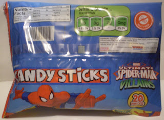 Back of Ultimate Spider-Man Villains Candy Sticks unopened bag