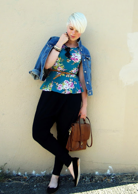 vintage coach, fall trends, floral peplum, in style, seattle street style, what i wore