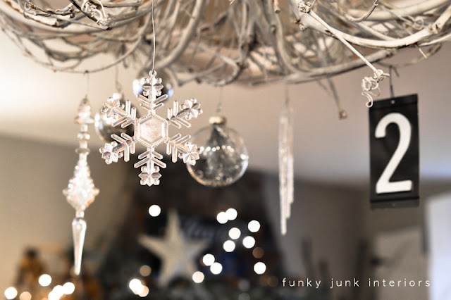 White twig chandelier decked out for Christmas via Funky Junk Interiors - Christmas home tour 2012